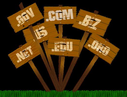 Extensions de nom de domaine sur des pancartes