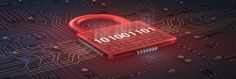 Cadenas rouge sur bits d'un ordinateur